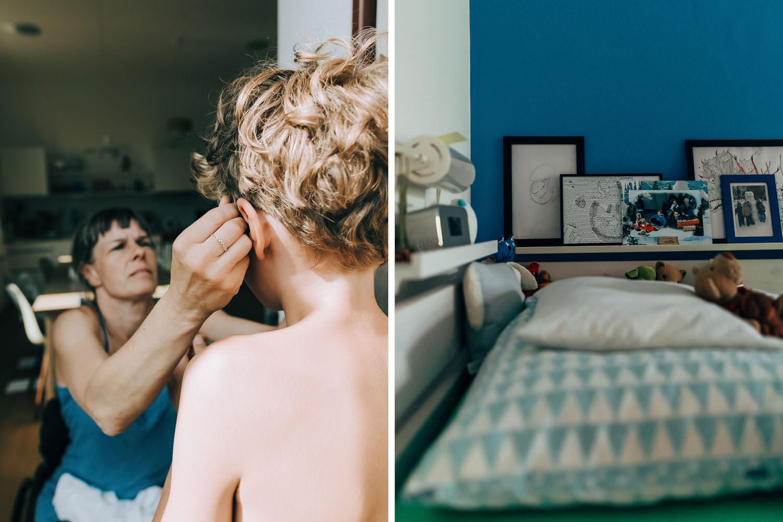 Mum fixing son's hair.