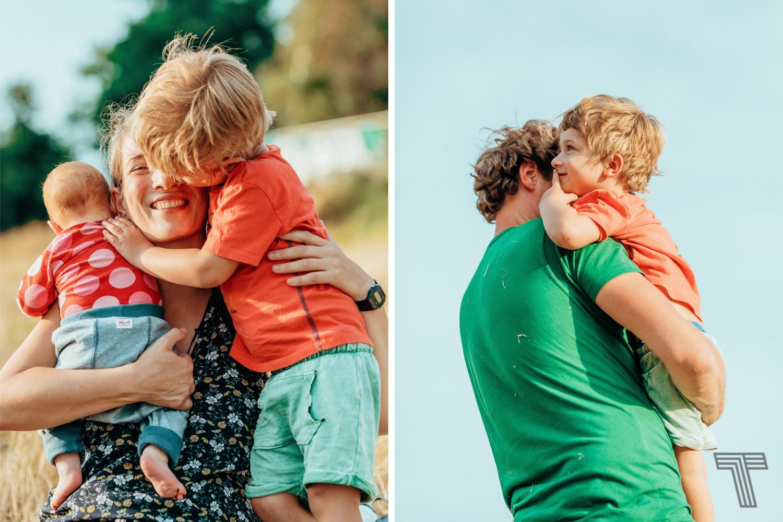 family cuddling at a family photo shoot